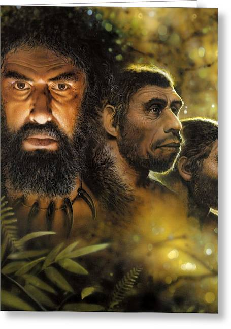 Ancestors Greeting Cards - Human evolution, conceptual image Greeting Card by Science Photo Library