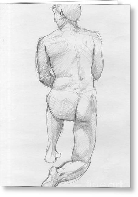 Vintage Painter Drawings Greeting Cards - Human figure from back Greeting Card by Peut Etre