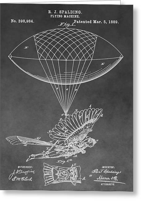 Helium Greeting Cards - Human Flight Patent Greeting Card by Dan Sproul