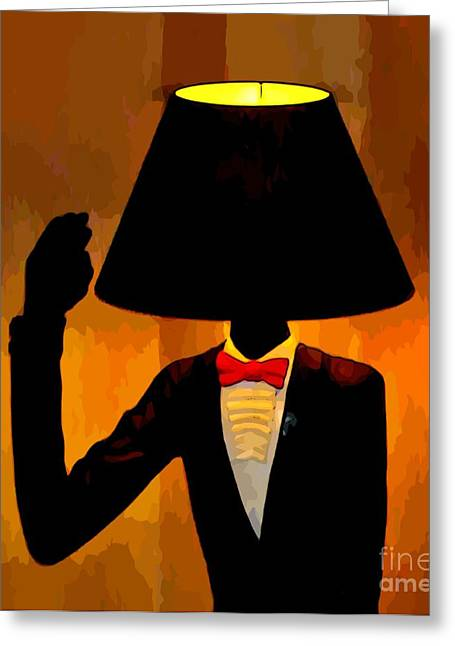 Humorous Greeting Cards Greeting Cards - Human Lamp Greeting Card by John Malone