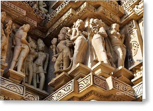 Asia Greeting Cards - Human Sculptures Khajuraho India Greeting Card by Rudra Narayan  Mitra