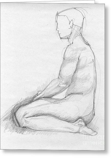 Vintage Painter Drawings Greeting Cards - Human sitting figure Greeting Card by Peut Etre