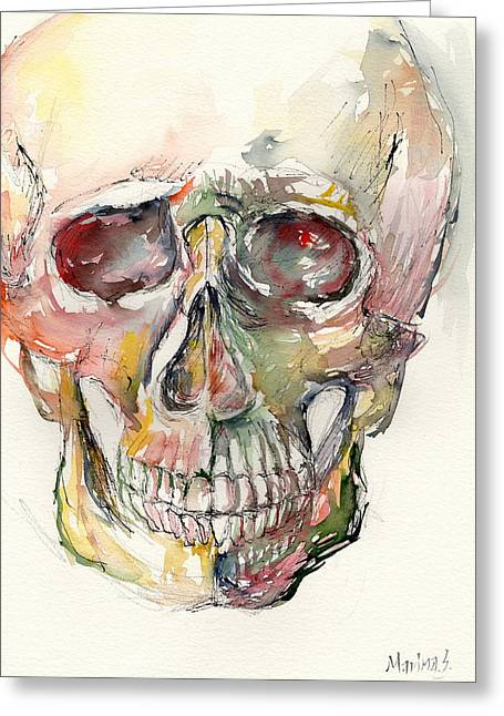Original Robert Plant Paintings Greeting Cards - Human Skull Greeting Card by Marina Sotiriou