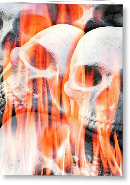 Human Skulls In Flames Greeting Card by Victor De Schwanberg