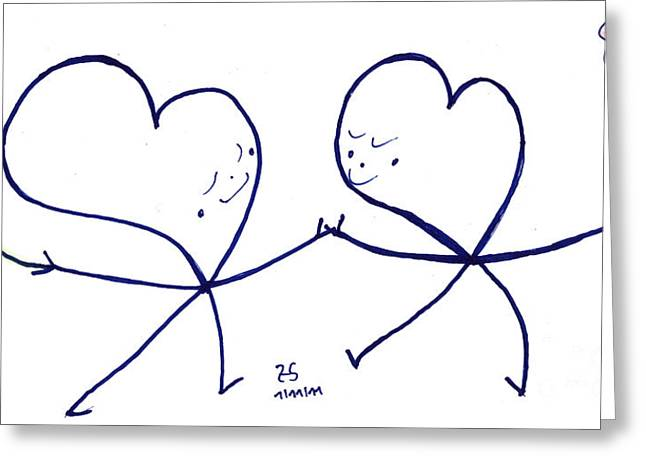 Human Spirit Drawings Greeting Cards - Human to human Greeting Card by Heidi Sieber