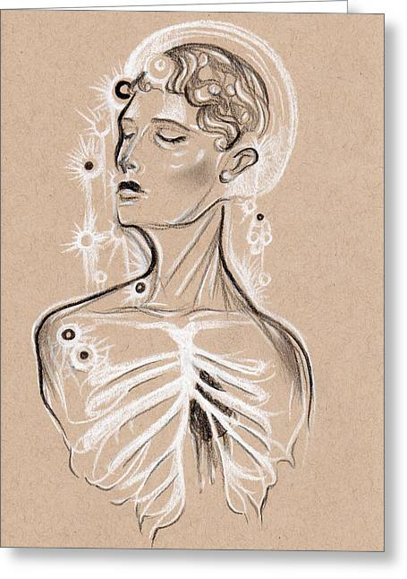 Conte Pencil Drawings Greeting Cards - Human Transparency Greeting Card by Michelle Erin Dominado