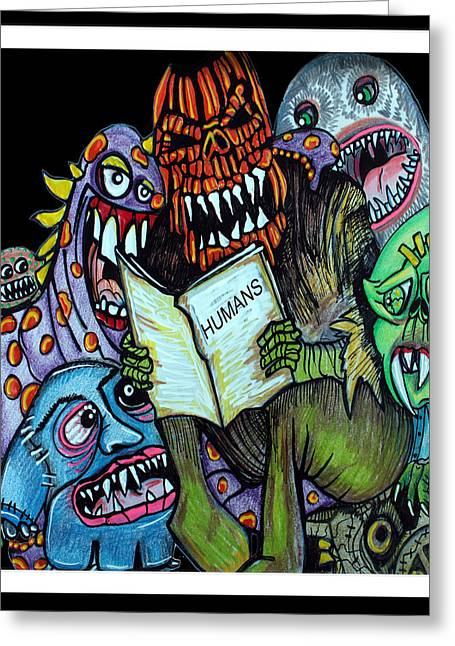 Monster Mixed Media Greeting Cards - Humans Greeting Card by Laura Barbosa