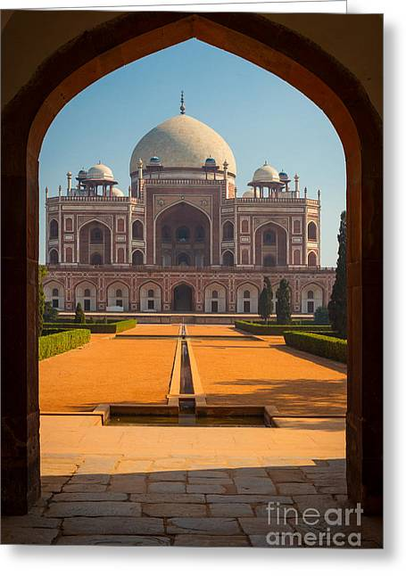 Opening Greeting Cards - Humayuns Tomb Archway Greeting Card by Inge Johnsson