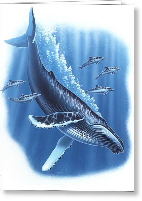 Humpback Whale Paintings Greeting Cards - Humback and Dolphins Greeting Card by JQ Licensing
