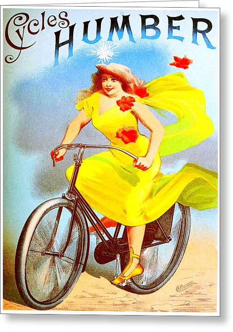Belle Epoque Mixed Media Greeting Cards - Humber Cycles Greeting Card by Charles Ross