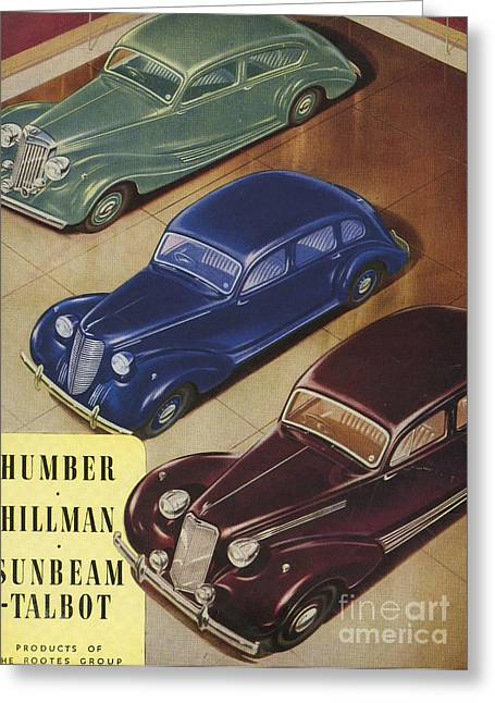 American Automobiles Greeting Cards - Humber, Hillman, Sunbeam-talbot 1930s Greeting Card by The Advertising Archives
