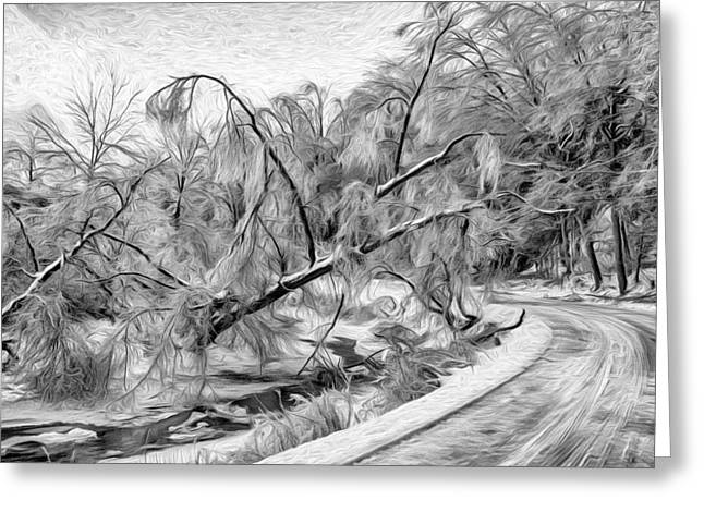 Snowy Roads Digital Art Greeting Cards - Humber River Road - Paint BW Greeting Card by Steve Harrington