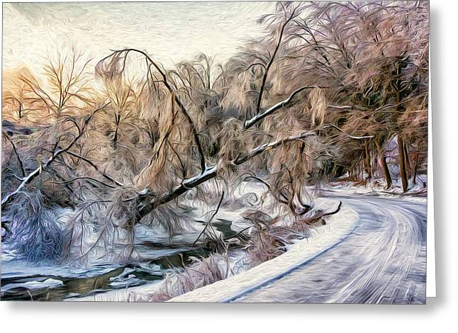 Snowy Roads Digital Art Greeting Cards - Humber River Road - Paint Greeting Card by Steve Harrington