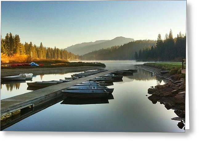 Recently Sold -  - Docked Boat Greeting Cards - Hume Lake Greeting Card by Dave Byers