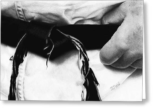 Gi Mixed Media Greeting Cards - Humility - Black and White Greeting Card by The Marshall Artist