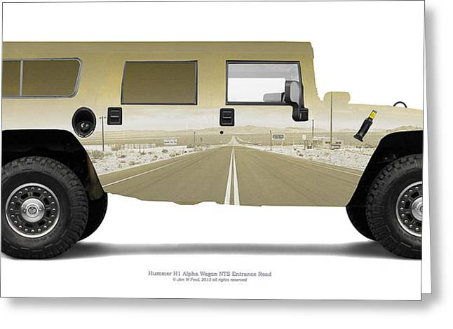 Hummer Greeting Cards - Hummer H1 4-Door Wagon NTS Entrance Road Greeting Card by Jan Faul