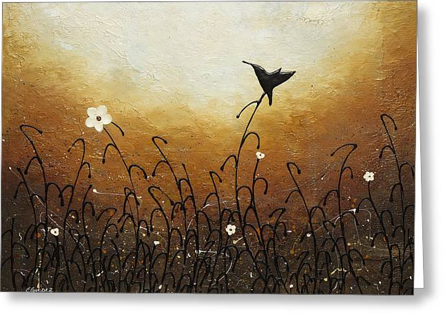 Poppies Greeting Cards - Humming Along Greeting Card by Carmen Guedez