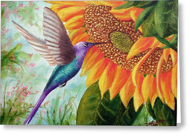 Recently Sold -  - Yellow Sunflower Greeting Cards - Humming For Nectar Greeting Card by David G Paul