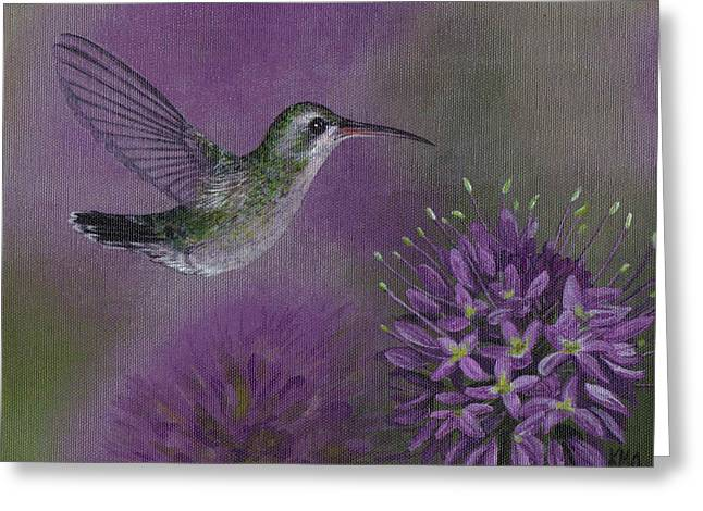 Cleome Flower Greeting Cards - Hummingbird and Cleame Greeting Card by Kassia Ott