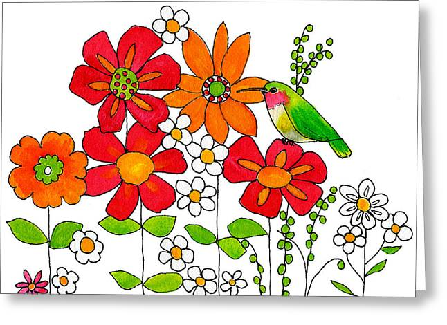 Floral Artwork Greeting Cards - Hummingbird and Flowers Greeting Card by Blenda Studio