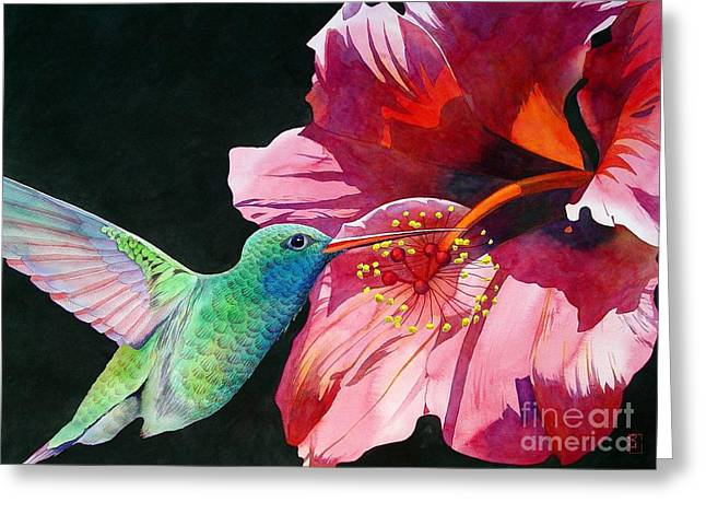 Hibiscus Greeting Cards - Hummingbird And Hibiscus Greeting Card by Robert Hooper