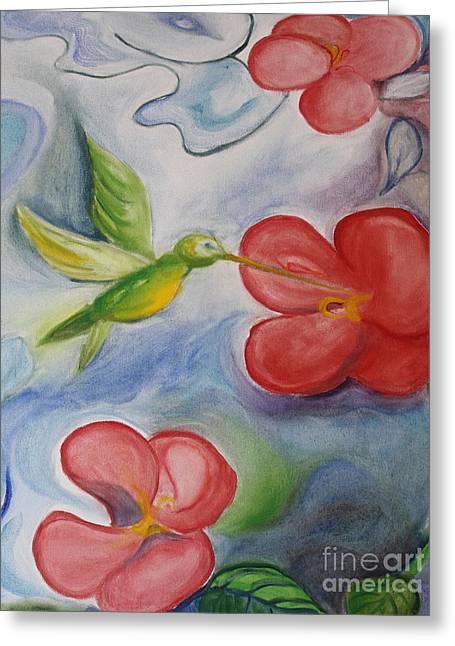 Teresa Hutto Greeting Cards - Hummingbird and Hibiscus Greeting Card by Teresa Hutto