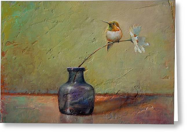 Hummingbird And White Daisy Greeting Card by Lori  McNee