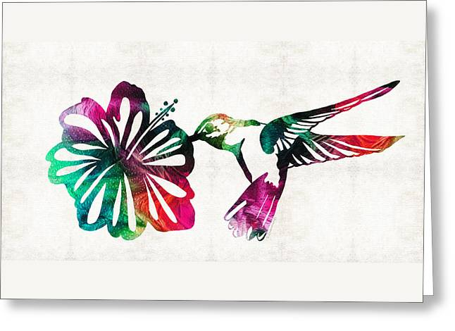 Humming Birds Greeting Cards - Hummingbird Art - Tropical Chorus - By Sharon Cummings Greeting Card by Sharon Cummings