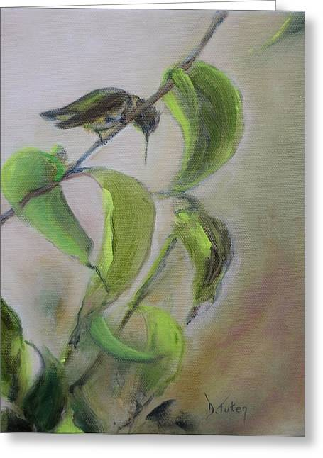 Mango Paintings Greeting Cards - Hummingbird at Rest Greeting Card by Donna Tuten