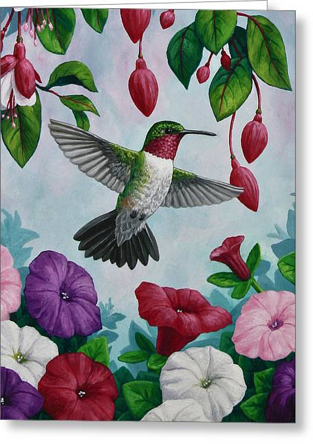 Birds And Flowers Greeting Cards - Hummingbird Greeting Card 2 Greeting Card by Crista Forest