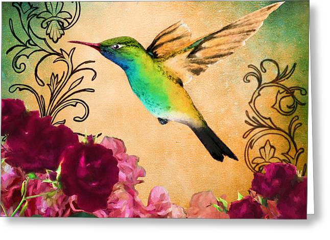 Filigree Greeting Cards - Hummingbird I Greeting Card by April Moen