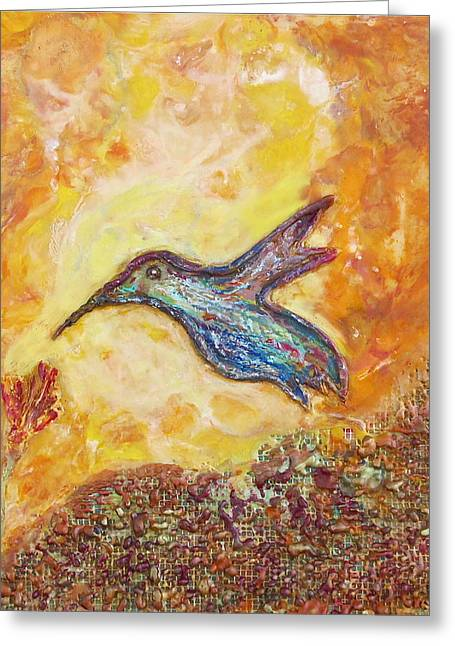 1574 Greeting Cards - Hummingbird In Blue Greeting Card by Joe Bourne