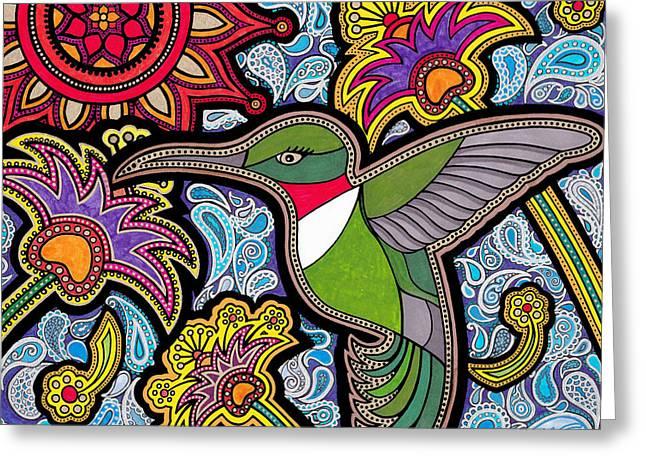 Feed Drawings Greeting Cards - Hummingbird Greeting Card by Keri Costello