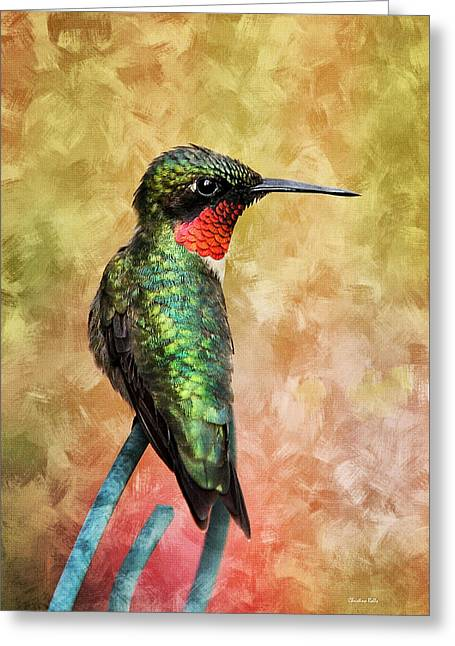 Close Up Paintings Greeting Cards - Hummingbird Love Greeting Card by Christina Rollo