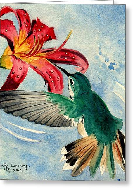 The Tiger Greeting Cards - Hummingbird Greeting Card by Melly Terpening
