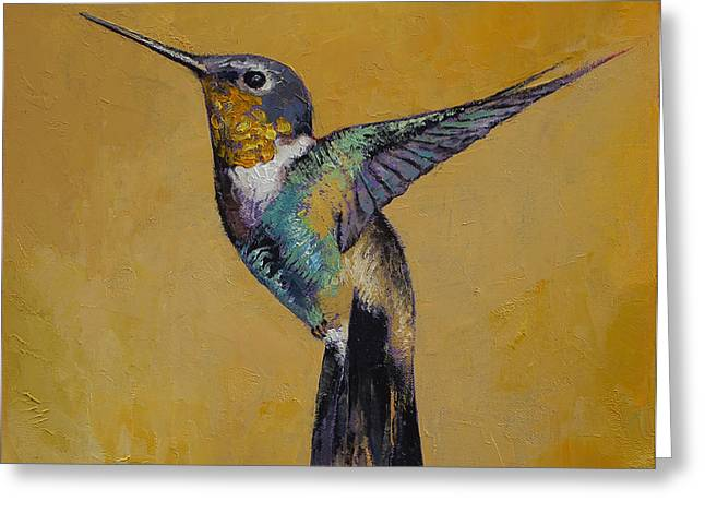 Abstract Artist Greeting Cards - Hummingbird Greeting Card by Michael Creese