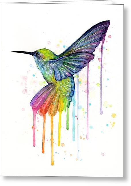 Hummingbirds Greeting Cards - Hummingbird of Watercolor Rainbow Greeting Card by Olga Shvartsur