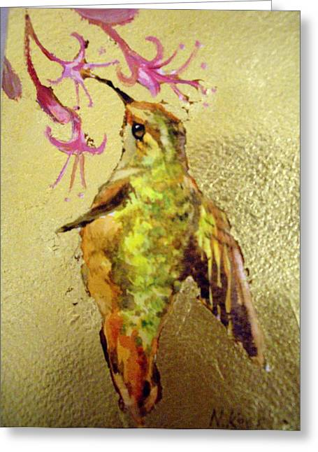 Hummingbird On Gold Greeting Card by Nikki Keep