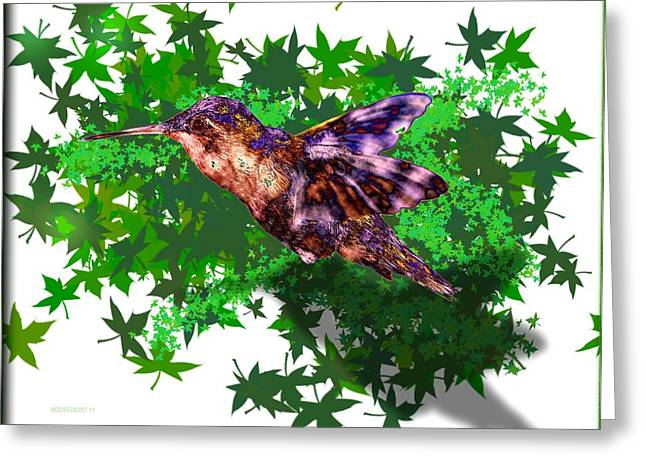 Colors Greeting Cards - Hummingbird over green Greeting Card by Mario  Perez