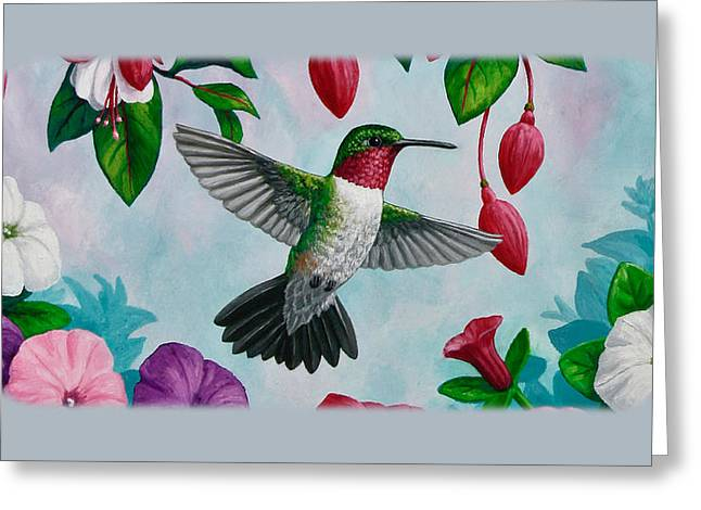 Flying Bird Greeting Cards - Hummingbird Phone Case H Greeting Card by Crista Forest