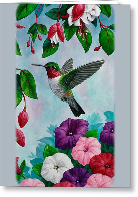 Ruby Greeting Cards - Hummingbird Phone Case V Greeting Card by Crista Forest