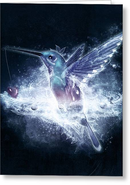 3d Greeting Cards - Hummingbird Print Greeting Card by Cameron Gray