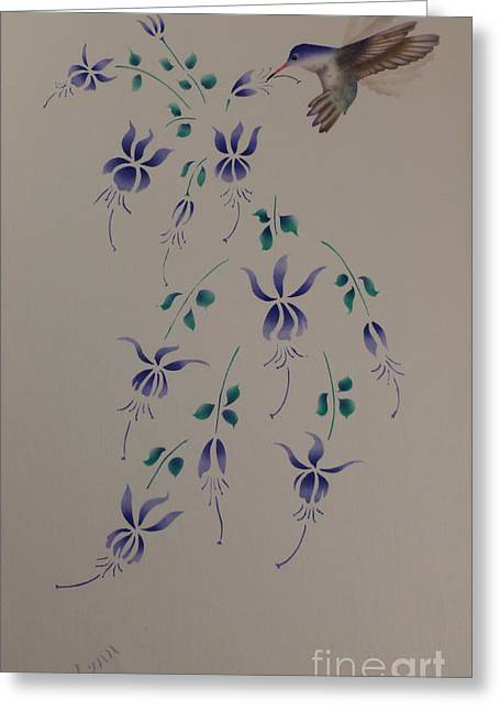 Winged Tapestries - Textiles Greeting Cards - Hummingbird With Fuchsias Greeting Card by Patricia Lynn