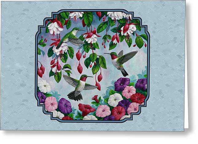 Ruby Throat Hummingbird Greeting Cards - Hummingbirds and Flowers Cyan Pillow and Duvet Cover Greeting Card by Crista Forest