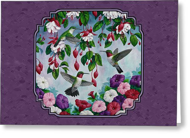 Ruby Throated Hummingbird Greeting Cards - Hummingbirds and Flowers Duvet Cover Greeting Card by Crista Forest