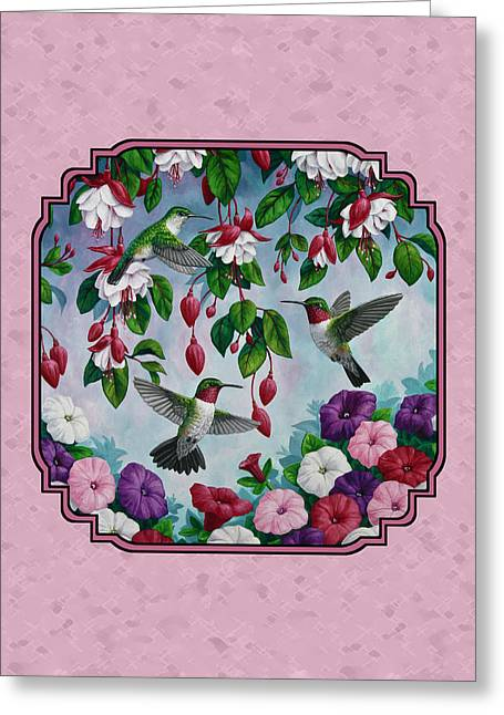 Ruby Throated Hummingbird Greeting Cards - Hummingbirds and Flowers Pink Pillow and Duvet Cover Greeting Card by Crista Forest