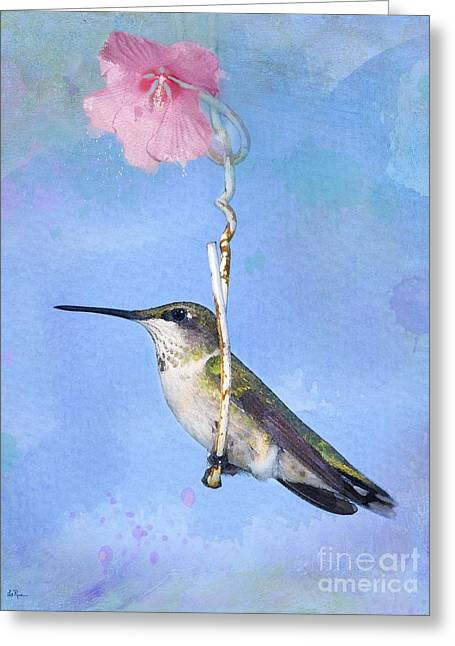 Hummingbirds Like To Swing Greeting Card by Betty LaRue