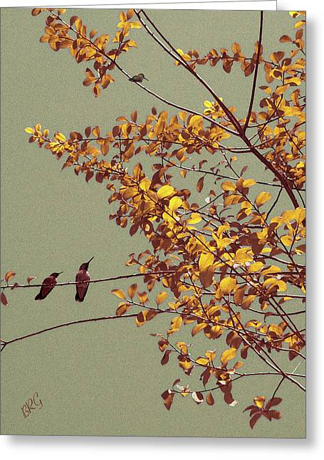 Ben Gertsberg Greeting Cards - Hummingbirds On Yellow Tree Greeting Card by Ben and Raisa Gertsberg
