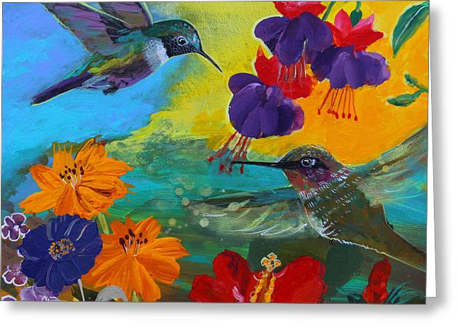Prayer Warrior Greeting Cards - Hummingbirds Prayer Warriors Greeting Card by Robin Maria  Pedrero