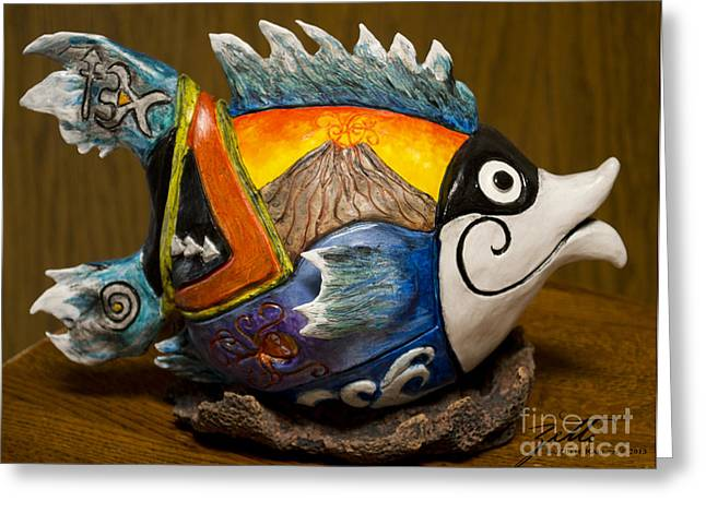 Fantasy Art Sculptures Greeting Cards - Hummuhummu Warrior Greeting Card by Suzette Kallen
